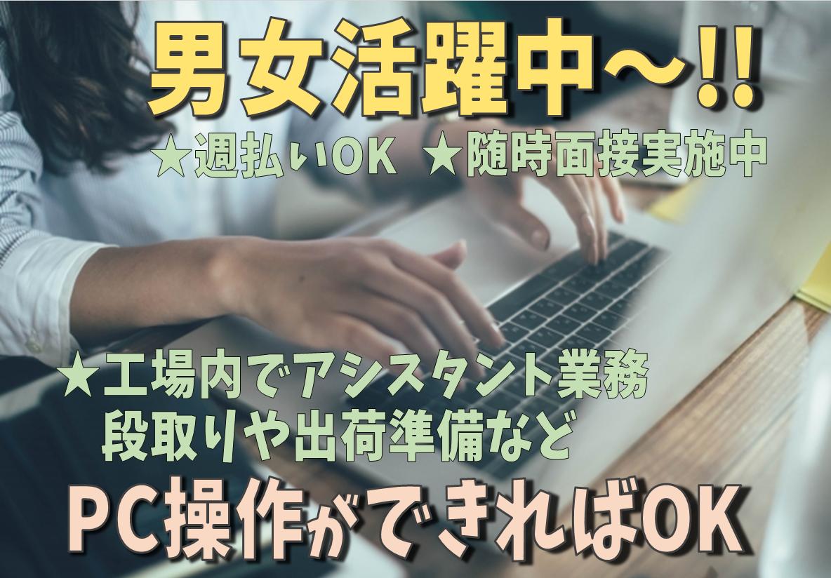男女活躍中~♬ PC操作(データ入力)が出来ればOK!!【アシスタント業務】人気の日勤です!