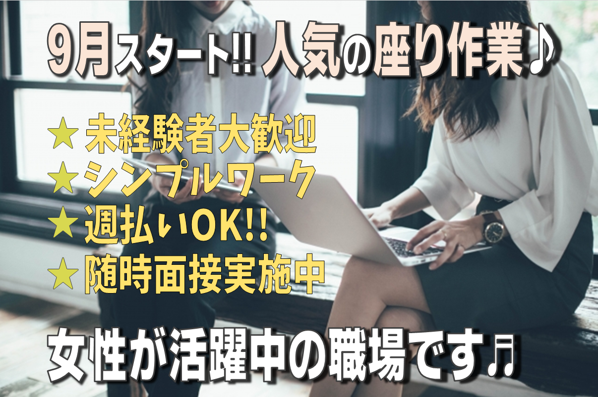 ◆12月末までのお仕事◆女性活躍中◆ラクラク♪座ってもなかの目視検査◆環境バツグン◆